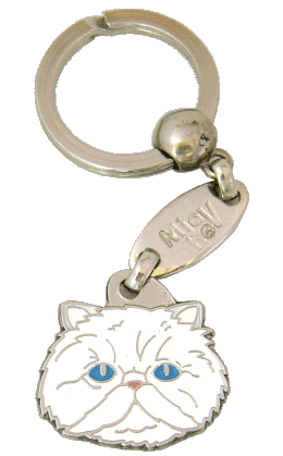 Persian cat white <br> (keyring, engraving included)