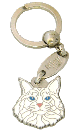 Maine Coon white <br> (keyring, engraving included)