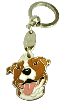 AMERICAN STAFFORDSHIRE TERRIER WH/BR <br> (keyring, engraving included)