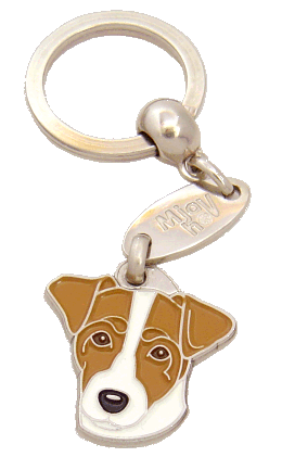 RUSSELL TERRIER WHITE AND BROWN <br> (keyring, engraving included)