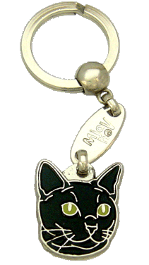 RUSSIAN BLACK CAT <br> (keyring, engraving included)