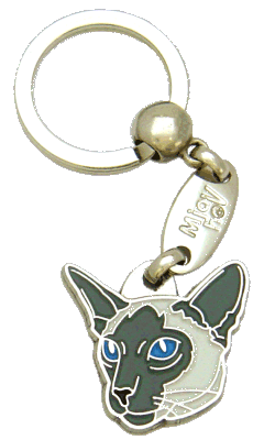 Siamese cat blue <br> (keyring, engraving included)