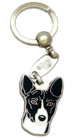 BASENJI BLACK AND WHITE <br> (keyring, engraving included)