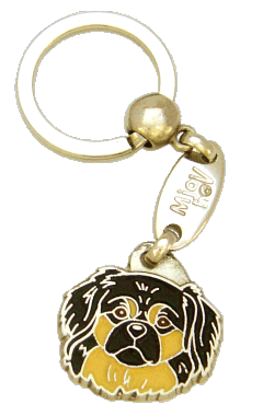 TIBETAN SPANIEL BLACK AND CREAM <br> (keyring, engraving included)