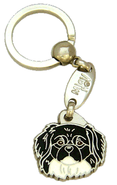 TIBETAN SPANIEL BLACK AND WHITE <br> (keyring, engraving included)