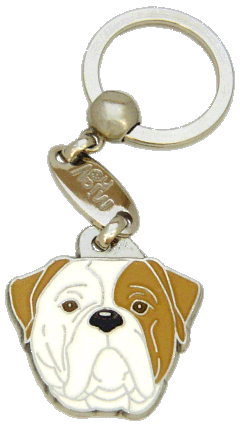 AMERICAN BULLDOG BROWN EYED - pet ID tag, dog ID tags, pet tags, personalized pet tags MjavHov - engraved pet tags online