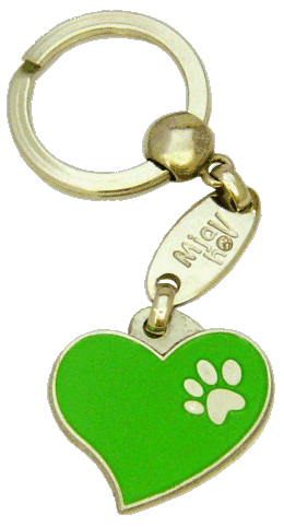 HEART GREEN - pet ID tag, dog ID tags, pet tags, personalized pet tags MjavHov - engraved pet tags online
