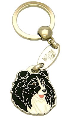 SHETLAND SHEEPDOG BLACK AND WHITE - pet ID tag, dog ID tags, pet tags, personalized pet tags MjavHov - engraved pet tags online