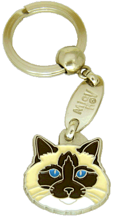 Ragdoll cat seal point mitted <br> (keyring, without engraving)