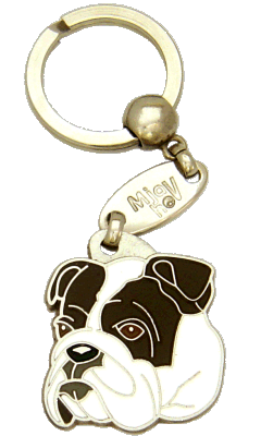 BULLDOG WHITE BRINDLE - pet ID tag, dog ID tags, pet tags, personalized pet tags MjavHov - engraved pet tags online