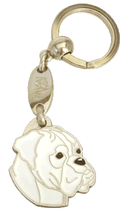 BOXER WHITE - pet ID tag, dog ID tags, pet tags, personalized pet tags MjavHov - engraved pet tags online