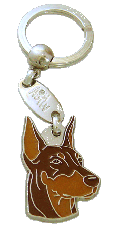 DOBERMAN CROPPED EARS BROWN - pet ID tag, dog ID tags, pet tags, personalized pet tags MjavHov - engraved pet tags online