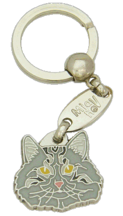 Norwegian Forest cat grey - pet ID tag, dog ID tags, pet tags, personalized pet tags MjavHov - engraved pet tags online
