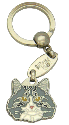 Norwegian Forest cat white grey - pet ID tag, dog ID tags, pet tags, personalized pet tags MjavHov - engraved pet tags online