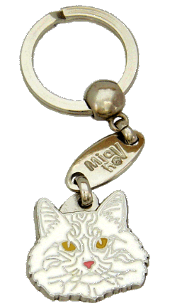 Norwegian Forest cat white - pet ID tag, dog ID tags, pet tags, personalized pet tags MjavHov - engraved pet tags online