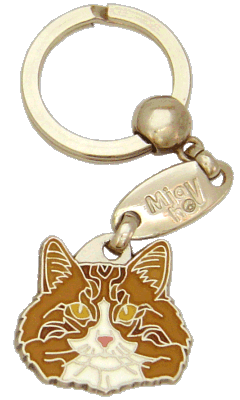 Norwegian Forest cat white & red - pet ID tag, dog ID tags, pet tags, personalized pet tags MjavHov - engraved pet tags online
