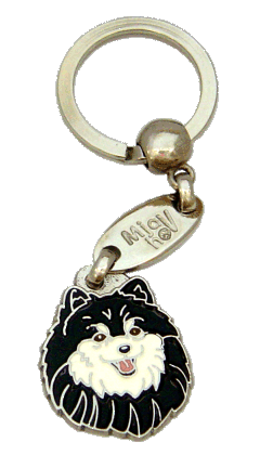 POMERANIAN BLACK AND WHITE - pet ID tag, dog ID tags, pet tags, personalized pet tags MjavHov - engraved pet tags online