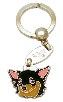 CHIHUAHUA LONG HAIRED BLACK & TAN - pet ID tag, dog ID tags, pet tags, personalized pet tags MjavHov - engraved pet tags online