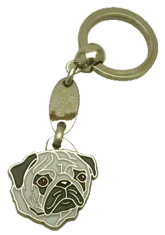 PUG SILVER - pet ID tag, dog ID tags, pet tags, personalized pet tags MjavHov - engraved pet tags online