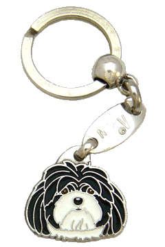 LHASA APSO BLACK AND WHITE <br> (keyring, without engraving)