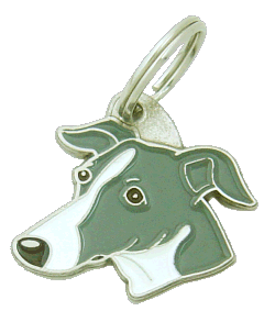 Whippet cinza branco - pet ID tag, dog ID tags, pet tags, personalized pet tags MjavHov - engraved pet tags online