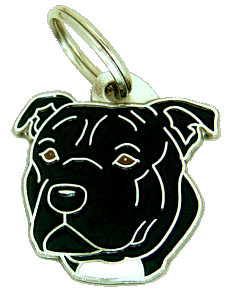 Staffordshire bull terier preto - pet ID tag, dog ID tags, pet tags, personalized pet tags MjavHov - engraved pet tags online