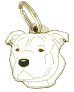 Staffordshire bull terier branco - pet ID tag, dog ID tags, pet tags, personalized pet tags MjavHov - engraved pet tags online
