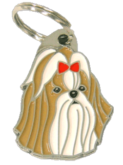 Shih tzu marrom vermelho - pet ID tag, dog ID tags, pet tags, personalized pet tags MjavHov - engraved pet tags online