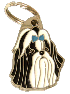 Shih tzu preto azul - pet ID tag, dog ID tags, pet tags, personalized pet tags MjavHov - engraved pet tags online