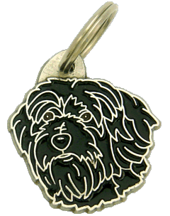 Terrier tibetano  preto - pet ID tag, dog ID tags, pet tags, personalized pet tags MjavHov - engraved pet tags online