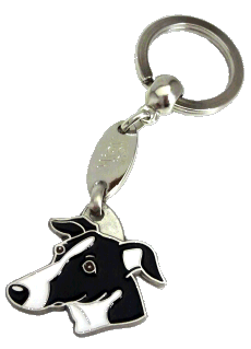 Whippet preto e branco - pet ID tag, dog ID tags, pet tags, personalized pet tags MjavHov - engraved pet tags online