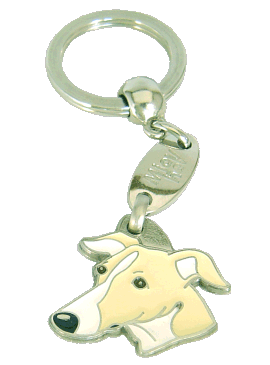 Whippet branco creme - pet ID tag, dog ID tags, pet tags, personalized pet tags MjavHov - engraved pet tags online