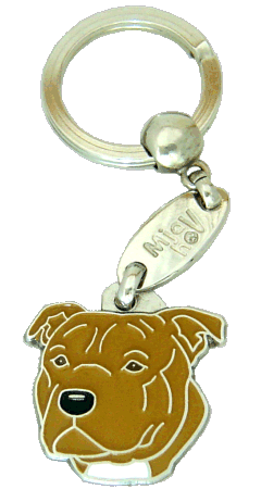 Staffordshire bull terier marrom - pet ID tag, dog ID tags, pet tags, personalized pet tags MjavHov - engraved pet tags online