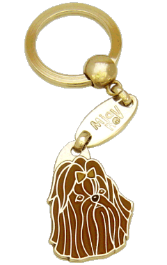 Shih tzu marrom - pet ID tag, dog ID tags, pet tags, personalized pet tags MjavHov - engraved pet tags online